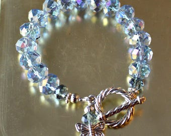 Set of Blue Crystal Butterfly Bracelets, Butterfly Charm Bracelets