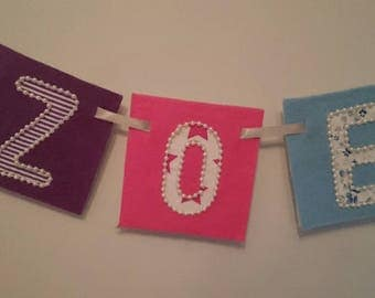ORCHID Bright pink purple blue wall hanging banners for children's rooms, nursery, names, made-to-order with felt and hand-sewn beaded trims