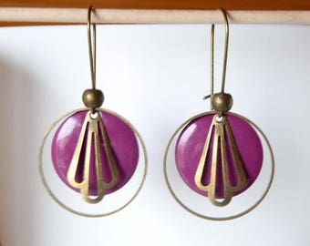 earrings with purple sequin and retro style finish