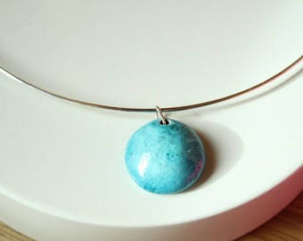 the silver Choker necklace and Pearl turquoise raku ceramic