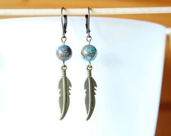 Earrings sleepers blue Jasper beads and bronze feather