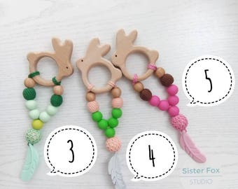 Crochet teether on a clip  Easter sale Bunny Rabbit Wooden teething Eco friendly toys Natural toy Wood silicone Simple Little Teether Gift