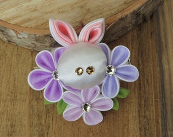 Hair Accessories- Hair Clips- Hair Piece- Kanzashi Flower- Kanzashi- Tsumami Kanzashi- Girl's Hair Accessories- Flower Girl- Bunny
