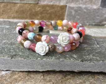 Friendship bracelets bracelet set girlfriends agate roses