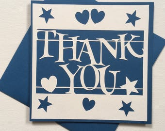 Thank you card, gratitude card, greeting card, handmade card, handcut papercut