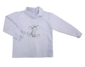 Light blue blouse elephant, girl blouse, pima cotton, light blue, girl top, baby clothes, elefant illustration, embroidered by hand, cotton