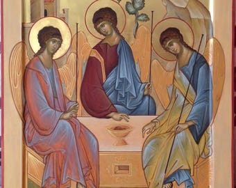 Holy Trinity copy of Andrei Rublev Russian Byzantine orthodox icon egg tempera