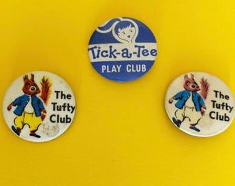 1970's Tufty club badges, Tick-a-Tee play club badge, 32mm vintage pin badge.