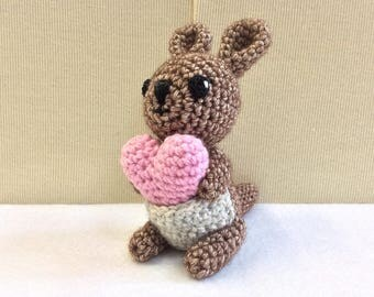 WALLABY Crochet With Heart, Amigurumi Wallaby, Handmade Wallaby, Australian Gift, Valentine Gift, Nursery Decor, Baby Shower Gift, Ing