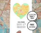 Personalised anniversary card, gift for couple, wedding anniversary print, adventure together, ruby linen anniversary, wedding map art