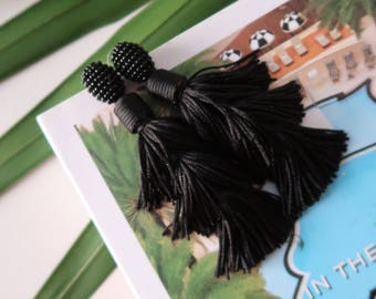 """Glam Holiday Black Tiered Stacked Beaded Tassel Earrings; 3.5""""; Easy on the ears!!"""