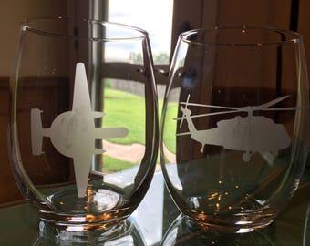 Navy Hawkeye Airplane & Helicopter Glassware; Naval Aviation Helo Plane Barware; Military Wine Glass; ; E2 C/D NFO MH-60S; Naval Aviator Bar