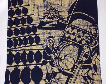 second hand furoshiki, traditional Japanese wrapping cloth, old fabric, cotton, battick dyeing, castle and lantern festival, navy