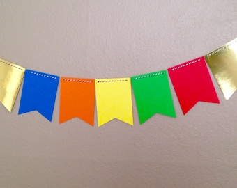 Primary Shine flag banner (6 feet): garland, bunting, pennant flags, primary colors, gold foil