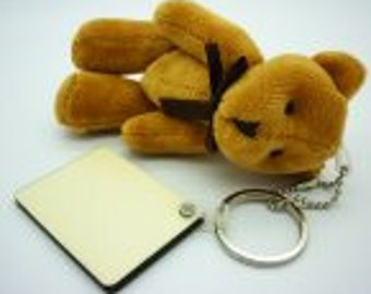 Personalised Key Ring Bear with MDF Tag