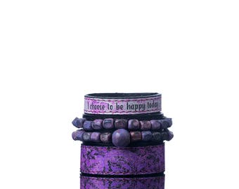 Colours of Life - Purple Wood Bracelet | 3 In 1, Handmade, Genuine Leather, Eco Leather, Leather, Bracelet, Print, Quote, Wooden