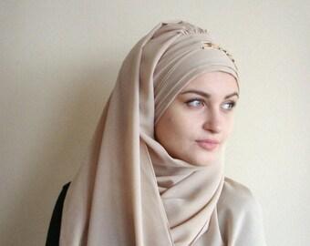 10% OFF Stylish Turban Hijab, ready to wear hijab, chapel scarf, Scarf Handmade, Pret A Porter Hijab, Headtie Turban Cap,Muslim fashion, Bei