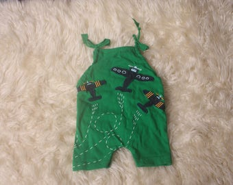 Baby Boy NEWBORN green cotton short sleeve romper,Aeroplane Theme,Short Leg,Photo  Prop,Newborn photoshoot Made in uk I ship worldwide.