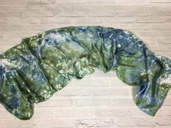 """100% Silk Scarf Ice Dyed in Beautiful Greens Artistic Watercolor Office Scarves 15""""x60"""" Oblong Rectangle Coworker Gift #167"""