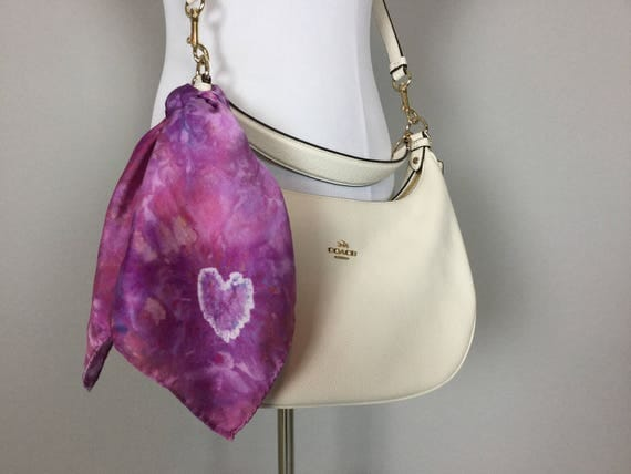 "Valentines Day Sale 20"" Valentine's Day Gifts Purse Scarf, 100% Silk Satin,  Tie Dye Purple Heart Purse Scarves #198"