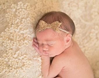 Glitter Bow Headband, Glitter Bow, Baby Headband, Newborn Headband, Girls Headband, Toddler Headband, Bow Headband
