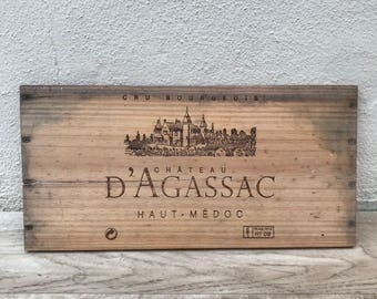 Wine Wood Crate Box Panel Antique Vintage French wall sign 17021815