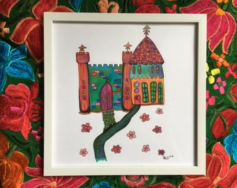 Bohemian Fantasy Castle - Original Illustration - Colored Pencil