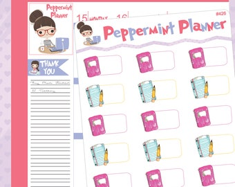 Paper, Pencil, Notebook School Planner Stickers -- Tracking -- #426