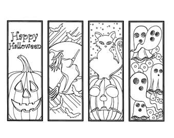 diy halloween bookmarks holiday crafts color your own bookmark instant download gift - Halloween Bookmarks To Color