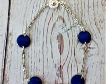 Bracelet, chain, silver, royal blue beads