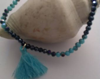 small turquoise and black bracelet/blue