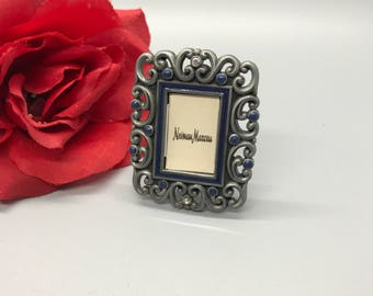 Jay Strongwater picture frame with blue Enamel and Swarovski Crystal,embellished miniture photo frame