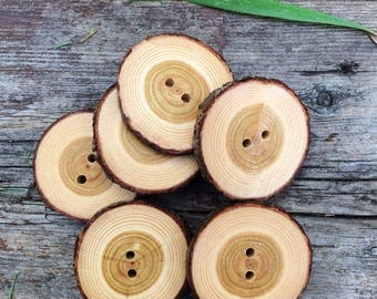 Large Bark-on Tamarack Wood Buttons // Set of 6 Buttons // Natural Wood Buttons // Handmade Wooden Buttons // Rustic Buttons