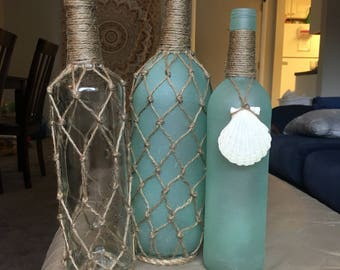 Beach inspired sea glass painted bottles