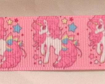 "Unicorn Grosgrain 7/8"" Printed Ribbon, Horse Ribbon"