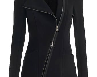knitted jacket with asymmetric hem
