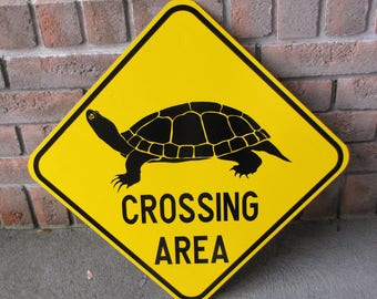 """TURTLE CROSSING Road Sign - Heavy Gauge Steel - New Old Stock - 18"""" square - Never Installed - FREE Shipping"""
