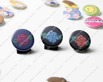 1.25 inch Pin Back Button - Rose
