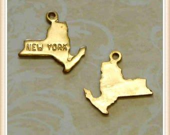 New York 12 pcs raw brass state charm NY