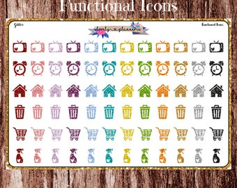 Functional icon stickers, glitter icon stickers, glitter stickers, planner stickers, icon stickers, glitter icons, functional icons