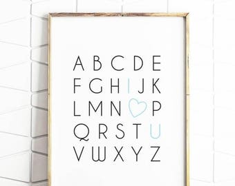 80% OFF alphabet poster, i love you art, alphabet art, alphabet decor, kids room art, educational poster, kids poster, digital poster