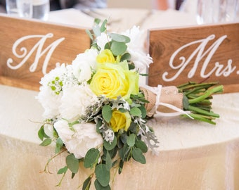 Mr. and Mrs. Sweetheart Table Signs | Rustic Wedding | Sweetheart Table