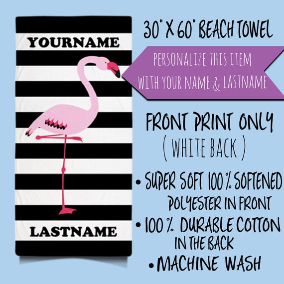 Personalized Beach Towels, Pink flamingo Beach Towel, Flamingo Towels, Custom Beach Towels, Stripes Beach Towels, Big Beach Towel, Summer