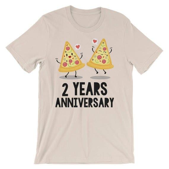 2 Years Anniversary Pizza Couple Short-Sleeve Unisex T-Shirt