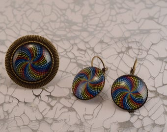 Multicolored graphic earrings and ring set