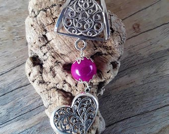 Scarf pink fuchsia and silver heart charm