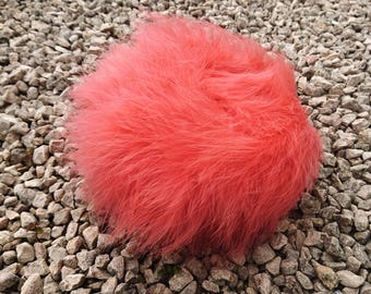 Gorgeous 50's salmon pink marabou feather pillbox hat, vintage feather pillbox, vintage marabou hat, 50's feather pillbox hat