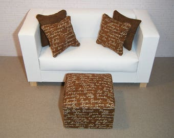 1:6 Scale Furniture Pouf and 4 Pillows - Barbie Momoko Blythe Pullip Fashion Dolls - Living Room Diorama - Brown Inspirational