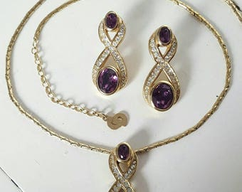 Christian Dior Rare Vintage Gold Plated Necklace & Pierced Earrings Set. Purple Signed Designer Statement Piece. Made in Germany