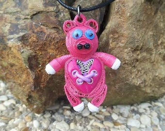 Pig necklace made of polymer clay steampunk quilling